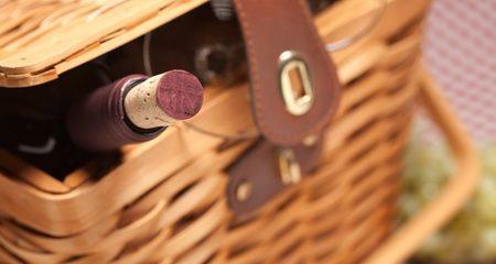 Wine in picnic basket
